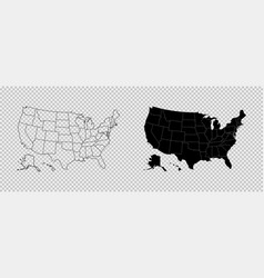 United states map high detailed usa map linear vector