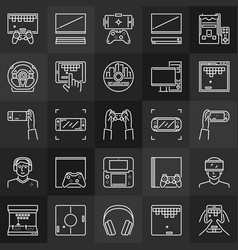 video games linear concept icons collection on vector image