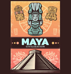 vintage colored ancient maya poster vector image