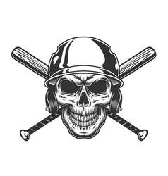 vintage monochrome skull in baseball helmet vector image