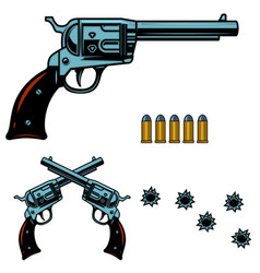 vintage revolver with bullet and bullet holes vector image