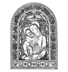 Virgin mary and jesus vintage vector