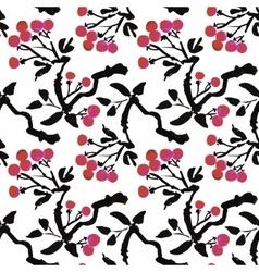 Watercolor garden rowan plant seamless pattern vector image