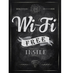 Wi-fi free inside poster with chalk on the blackbo vector