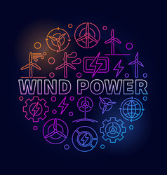 Wind power outline colorful vector