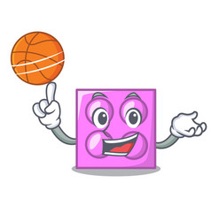 With basketball toy brick character cartoon vector