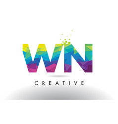 wn w n colorful letter origami triangles design vector image