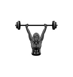 woman weight lifter mascot logo vector image