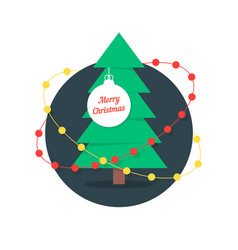 merry christmas with xmas tree and garlands vector image vector image