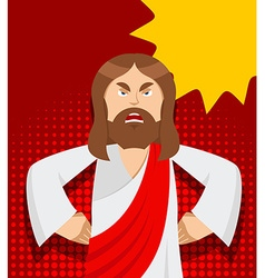 Angry Jesus Jesus is not satisfied Angered by vector image vector image