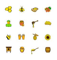 beekeeping icons set cartoon vector image