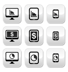 Business chart on computer tablet smartphone ve vector image vector image