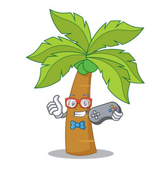 gamer palm tree character cartoon vector image vector image
