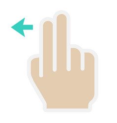 2 finger swipe left flat icon touch and gesture vector image vector image