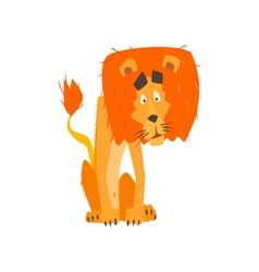 Confused Lion Flat Cartoon Stylized vector image vector image