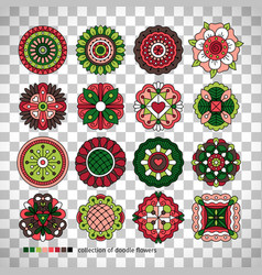 doodle collection of ethnic flowers vector image