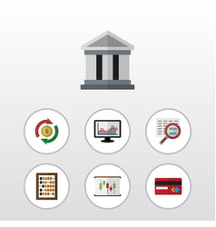 Flat icon incoming set of bank interchange scan vector