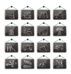 Heavy industry icons vector image vector image