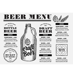 Menu beer restaurant alcohol template placemat vector