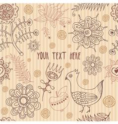 Retro Floral Bird Pattern vector image vector image