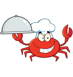 Crab Chef Character Holding A Platter vector image vector image