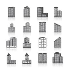 Edifice buildings icons set vector image vector image