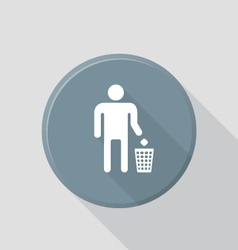 flat style waste sign icon with shadow vector image vector image