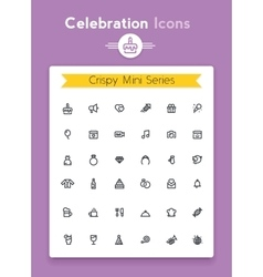 line celebration and party tiny icon set vector image vector image