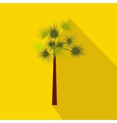 One green palm tree icon flat style vector image vector image