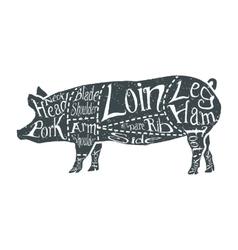 American cuts of pork vector