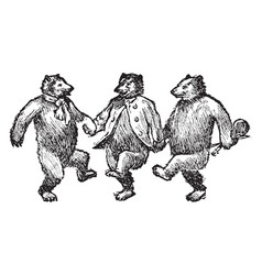 Bears dancing vintage vector