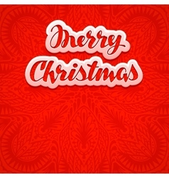 Beautiful text lettering Merry Christmas on red vector