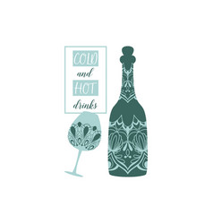 Beer bottle and glass alcohol vector