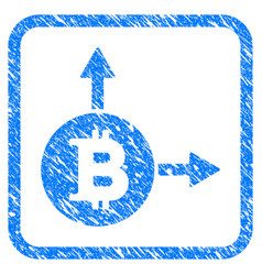 bitcoin fork framed stamp vector image