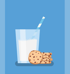 Breakfast with chocolate chip cookies and glass vector