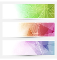 Bright triangular cards with swoosh lines vector