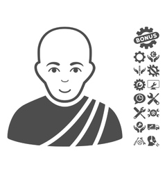 Buddhist Monk Icon With Tools Bonus vector image