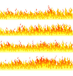 burning fire walls flat horizontal seamless vector image
