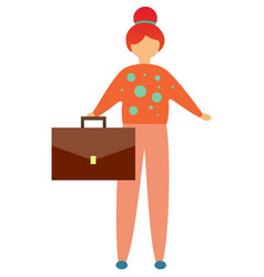 Business woman holding briefcase flat icon vector