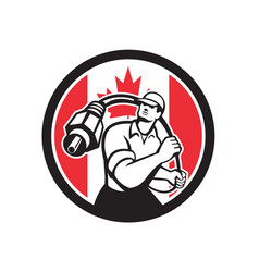 Canadian cable installer canada flag icon vector