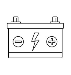 car battery icon outline style vector image