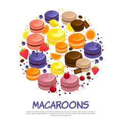 cartoon colorful tasty macaroons round concept vector image