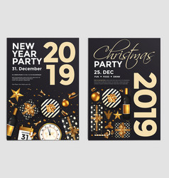 christmas party flyer design- golden design 2019 5 vector image