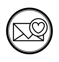 circular shape with silhouette envelope with heart vector image