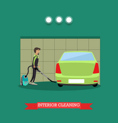 cleaning car interior in flat vector image