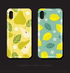 Cover smartphone pear lemon leaves fruits flowers vector