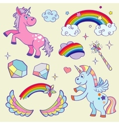 Cute magic unicorn rainbow fairy wings wand vector