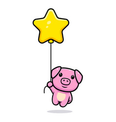 Cute pig floating with star balloon mascot vector