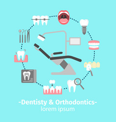 Dentistry and orthodontics flat icons poster vector