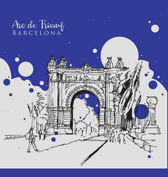 drawing sketch arc de triomf vector image
